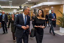 HANDOUT - NATO Secretary General Jens Stoltenberg and Special Envoy for the United Nations High Commissioner for Refugees, Angelina Jolie at NATO headquarters in Brussels, Belgium, as Angeline Jolie visits the Organisation on January 31, 2018. Photo by NATO via Balkis Press/ABACAPRESS.COM