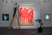 CY TWOMBLY Untitled (Bacchus 1st Version V), 2004, Estimate Upon Request with ANDY WARHOL Self-Portrait (Fright Wig), 1986 Estimate $7,000,000-10,000,000 (L)- Sotheby's previews New York sales of Impressionist, Modern and Contemporary Art.   London Exhibition Dates 9- 13 April 2016, New York Sale Dates Impressionist & Modern Art Evening Sale: 9 May 2016 and Contemporary Art Evening Auction: 11 May 2016
