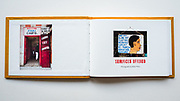 Hand sewn artist book, pearl stitch, hard cover, 28 pages, edition of 10, 2020, First Spread
