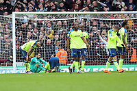 Aston Villa v Derby County - Sky Bet Championship<br /> BIRMINGHAM, ENGLAND - APRIL 28 :  Derby County players are dejected after Aston Villa equalise