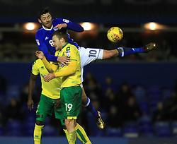 Birmingham City's Lukas Jutkiewicz and Norwich City's Tom Trybull battle for the ball