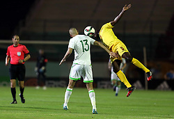 June 6, 2017 - Blida, Algiers, Algeria - Algerian's Islam Slimani (L) vies with Guinée's player Camara Fodé (R) during their friendly international football match between Algeria and Guinée the Mustapha Tchaker stadium in Blida on June 06, 2017. (Credit Image: © Billal Bensalem/NurPhoto via ZUMA Press)
