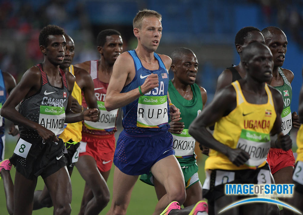 Aug 13, 2016; Rio de Janeiro, Brazil; Galen Rupp (USA) competes in the men's 10,000m event at Estadio Olimpico Joao Havelange during the Rio 2016 Summer Olympic Games.