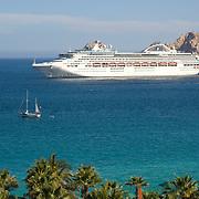 Cruise ship on Cabo San Lucas bay, Mexico.