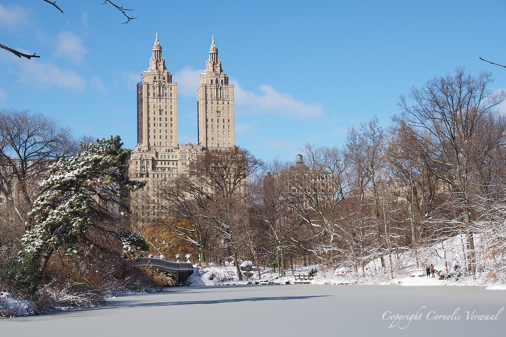 The twin towers of the San Remo seen over The Lake in Central Park