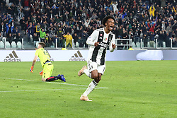 November 3, 2018 - Turin, Piedmont, Italy - Juan Cuadrado (Juventus FC) celebrates after scoring the third goal for Bianconeri during the Serie A football match between Juventus FC and Cagliari Calcio at Allianz Stadium on November 03, 2018 in Turin, Italy. Juventus won 3-1 over Cagliari. (Credit Image: © Massimiliano Ferraro/NurPhoto via ZUMA Press)