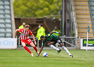 Plymouth Argyle Forward Panutche Camará (28) is on the ball and is under pressure Sunderland Defender Denver Hume (33) during the EFL Sky Bet League 1 match between Plymouth Argyle and Sunderland at Home Park, Plymouth, England on 1 May 2021.