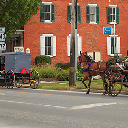 Intercourse, PA, USA - June 17, 2012: Different horse-drawn buggy in Intercourse, PA.