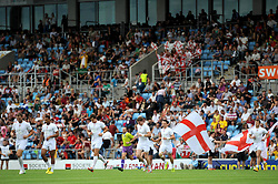 England enter the pitch as they prepare to play Italy - Photo mandatory by-line: Dougie Allward/JMP - Mobile: 07966 386802 - 11/07/2015 - SPORT - Rugby - Exeter - Sandy Park - European Grand Prix 7s