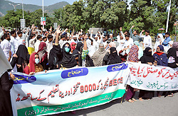 October 5, 2018 - Pakistan - ISLAMABAD, PAKISTAN, OCT 04: Members of All Pakistan Basic Education Community .Schools (Bajaur) are holding protest demonstration for acceptance of their demands, at .Islamabad press club on Thursday, October 04, 2018. (Credit Image: © PPI via ZUMA Wire)