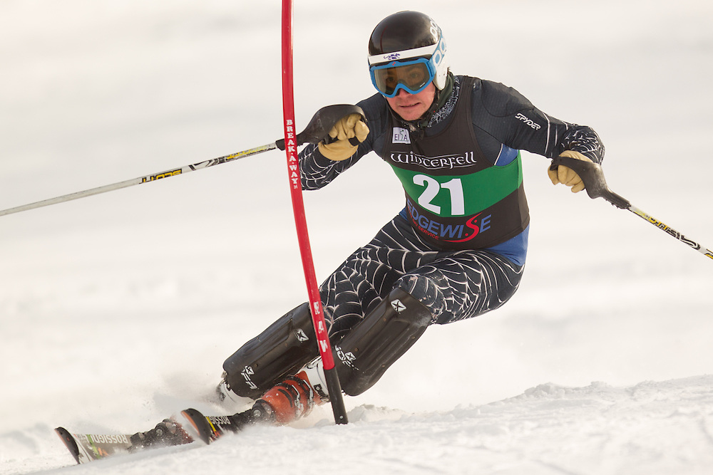 Liam Mulhern of Middlebury College, skis during the second  run of the men's slalom at the University of Vermont Carnival at Burke Mountain on January 26, 2014 in East Burke, VT. (Dustin Satloff/EISA)