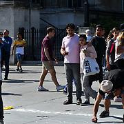 UK Weather - The Hottest week in June 2019, street artist at Trafalgar Square, on 27 June 2019, London, UK