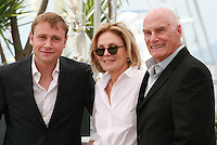 Actor Max Riemelt, Actress Marthe Keller and Director Barbet Schroeder at the Amnesia film photo call at the 68th Cannes Film Festival Tuesday May 19th 2015, Cannes, France.