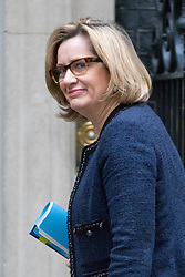 © Licensed to London News Pictures. 05/12/2017. London, UK. Home Secretary Amber Rudd arriving in Downing Street to attend a Cabinet meeting this morning.Yesterday, Brexit negotiations on the Northern Ireland border were stalled when Arlene Foster of the DUP said she could not support commitment to keep Northern Ireland aligned with EU laws. Photo credit : Tom Nicholson/LNP