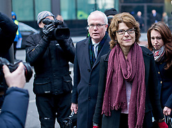 © London News Pictures. 13/02/2013 . London, UK.  Vicky Pryce (right) arriving at Southwark Crown Court on February 13, 2013 where the jury is expected to go out to consider a verdict in the trial of Vicky Pryce for perverting the course of justice. Vicky Pryce has admitted  accepting penalty points incurred by her former husband and disgraced MP Chris Huhne in 2003. Photo credit : Ben Cawthra/LNP