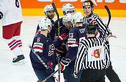 Players of USA celebrate after scoring first goal during Ice Hockey match between USA and Czech Republic at Third place game of 2015 IIHF World Championship, on May 17, 2015 in O2 Arena, Prague, Czech Republic. Photo by Vid Ponikvar / Sportida