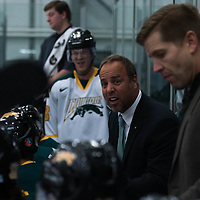 Regina Cougars Men's Hockey Coach Todd Johnson (6th season) in action during the Men's Hockey Home Opener on October 6 at Co-operators arena. Credit: Arthur Ward/Arthur Images