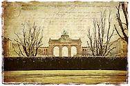 Parc Cinquantenaire (sepia), Brussels,  Belgium - Forgotten Postcard