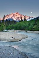 Moonrise over Mount Shuksan from the Nooksack River, North Cascades Washington USA