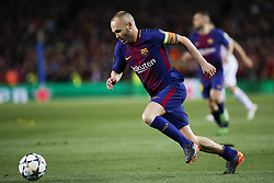 April 4, 2018 - Barcelona, Catalonia, Spain - April 4, 2018 - Barcelona, Spain - Uefa Champions League Quarter final first leg, FC Barcelona v AS Roma:.Andres Iniesta of FC Barcelona runs with the ball. (Credit Image: © Marc Dominguez via ZUMA Wire)