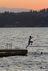 United States, Washington, Kirkland, waterfront on Lake Washington at sunset
