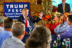 October 24, 2016 - Florida, U.S. - Donald Trump speaks to the crowd at a farmer's roundtable event at Bedner Farms Monday, October 24, 2016. (Credit Image: © Lannis Waters/The Palm Beach Post via ZUMA Wire)