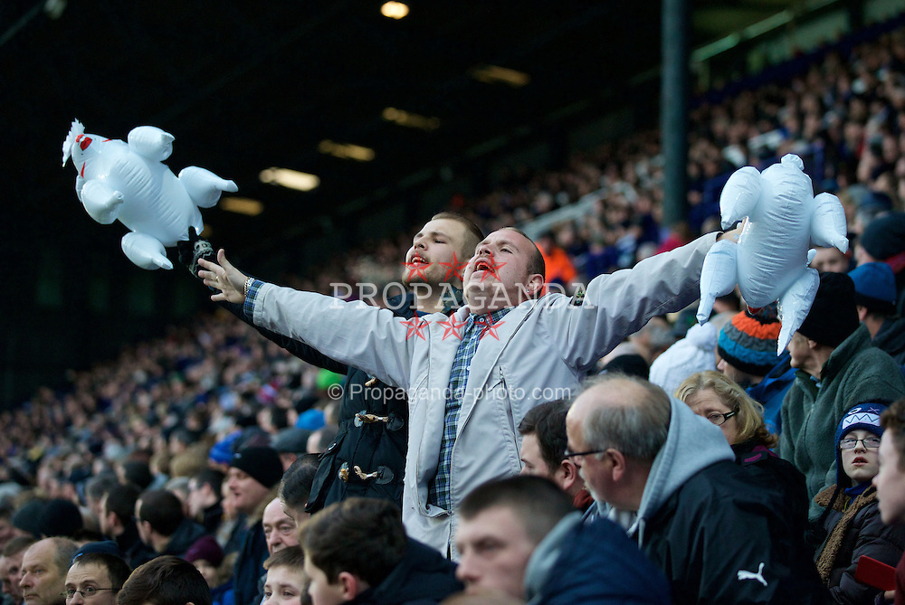 BIRKENHEAD, ENGLAND - Saturday, January 3, 2015: Tranmere Rovers supporters taunt the Swansea City fans with inflatable sheep, despite having a Welsh goalkeeper, during the FA Cup 3rd Round match at Prenton Park. (Pic by David Rawcliffe/Propaganda)
