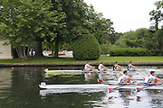 Henley, Great Britain.  Henley Royal Regatta. M4X, Queen Mother Challenge Cup, Leander Club, GBR, [Bucks], and Chula Vista Training  Center, USA [Berks], race along Temple Island, after the Start, of their Semi-Final. Crew - Leander Club: Tom SOLESBURY [bow], Steve, ROWBOTHAM, Sam TOWNSEND, Bill LUCAS [stroke]. River Thames Henley Reach.  Royal Regatta. River Thames Henley Reach.  Saturday  02/07/2011  [Mandatory Credit  Intersport Images] . HRR