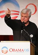 Edinburg, TX - 20 Feb 2008 -.Senator Edward Kennedy, D - MA, gestures while speaking in support of Barack Obama in an appearance at The University of Texas - Pan American on Wednesday afternoon, February 20 in Edinburg, Texas.  Kennedy appeared on the same afternoon that Hillary Clinton was campaigning nearby in Hidalgo.