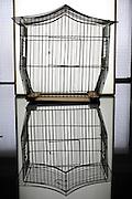 empty metal wire birdcage house