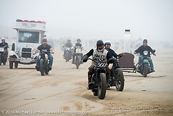 Skateboarding Legend Steve Caballero on his 1944 Harley-Davidson Flathead heads back to the pits from the finish line at TROG West - The Race of Gentlemen. Pismo Beach, CA, USA. Saturday October 15, 2016. Photography ©2016 Michael Lichter.