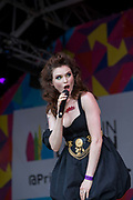 Headline act, Sophie Ellis-Bextor performs at the Trafalgar Square Stage during Pride London on the 7th July 2018 in central London in the United Kingdom.