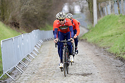 March 30, 2018 - Oudenaarde, Belgique - OUDENAARDE, BELGIUM - MARCH 30 : HAUSSLER Heinrich (AUS)  of Bahrain - Merida is leading the group on the Kwaremont climb during a training session prior to the Flanders Classics UCI WorldTour 102nd Ronde van Vlaanderen cycling race with start in Antwerpen and finish in Oudenaarde on March 30, 2018 in Oudenaarde, Belgium, 30/03/2018 (Credit Image: © Panoramic via ZUMA Press)