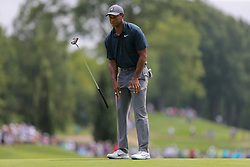 August 9, 2018 - St. Louis, Missouri, United States - Tiger Woods reacts after missing a putt during the first round of the 100th PGA Championship at Bellerive Country Club. (Credit Image: © Debby Wong via ZUMA Wire)