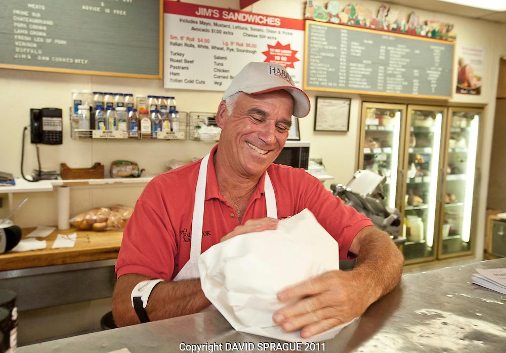Owner Mike XXXXX at Jim's Market in Woodland Hills, CA. September 2,  2011. Photo by David Sprague