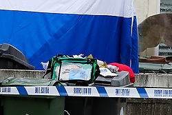 © Licensed to London News Pictures. 24/10/2020. London, UK. Medical kit on the bin in the front garden of a property on Westbury Road in Walthamstow, East London following the death of a 22 year old man. The victim was stabbed on Friday and was pronounced dead at the scene just before 10pm. Photo credit: Dinendra Haria/LNP