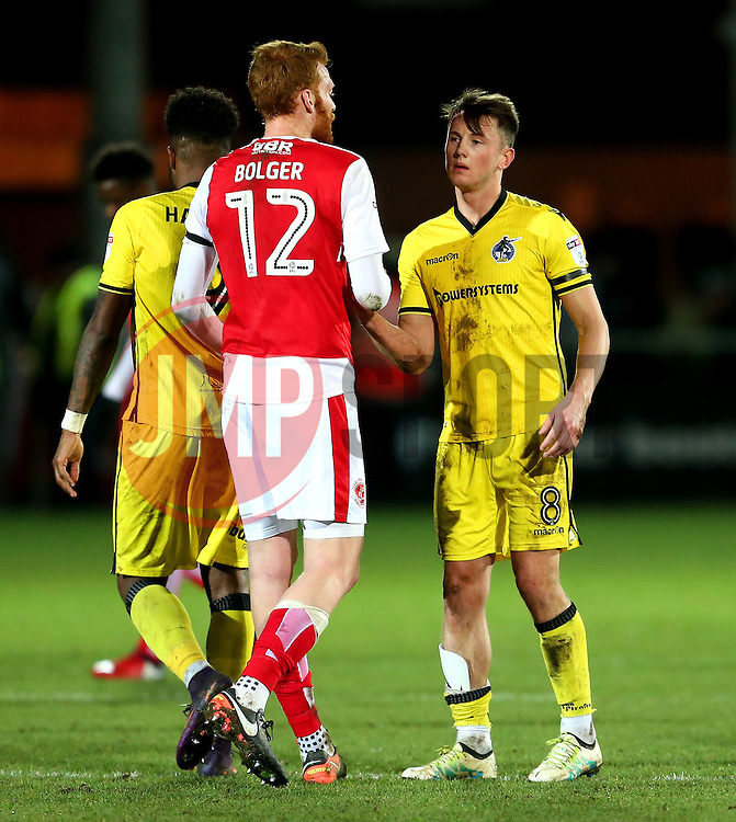 Ollie Clarke of Bristol Rovers shakes hands with Cian Bolger of Fleetwood Town at full time - Mandatory by-line: Matt McNulty/JMP - 14/01/2017 - FOOTBALL - Highbury Stadium - Fleetwood, England - Fleetwood Town v Bristol Rovers - Sky Bet League One