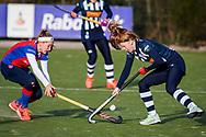 BILTHOVEN -  Hoofdklasse competitiewedstrijd dames, SCHC v hdm, seizoen 2020-2021.<br /> Foto: Pien Dicke (SCHC) en Jip Blaas (hdm)