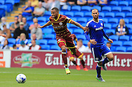Jordan Cousins of Queens Park Rangers (l) gets away from Mathew Connolly of Cardiff city. EFL Skybet championship match, Cardiff city v Queens Park Rangers at the Cardiff city stadium in Cardiff, South Wales on Sunday 14th August 2016.<br /> pic by Andrew Orchard, Andrew Orchard sports photography.