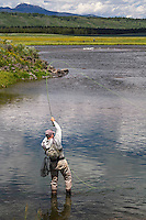 A fly fisherman sets the hook on a rainbow trout in Harriman State Park on the Henry's Fork River in Idaho.
