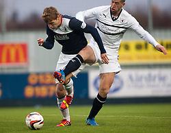 Falkirk's Jay Fulton and Raith Rovers Calum Elliot.<br /> Half time : Falkirk 2 v 0 Raith Rovers, Scottish Championship game at The Falkirk Stadium.