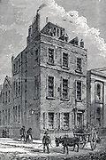 Isaac Newton's (1642-1727) house on the corner of Orange and St Martin's Streets, London, as it appeared c1880. Wood engraving.