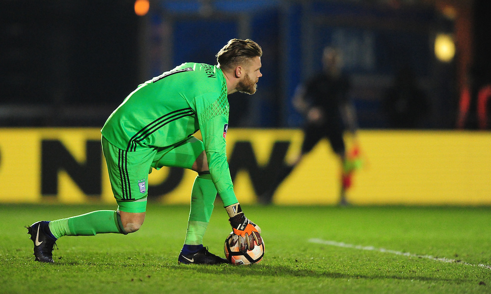 Ipswich Town's Dean Gerken<br /> <br /> Photographer Chris Vaughan/CameraSport<br /> <br /> Emirates FA Cup Third Round Replay - Lincoln City v Ipswich Town - Tuesday 17th January 2017 - Sincil Bank - Lincoln<br />  <br /> World Copyright © 2017 CameraSport. All rights reserved. 43 Linden Ave. Countesthorpe. Leicester. England. LE8 5PG - Tel: +44 (0) 116 277 4147 - admin@camerasport.com - www.camerasport.com