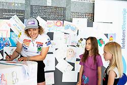 Ilka Stuhec with children after the presentation of new alpine ski team of Ilka Stuhec before new season 2019/20, on June 10, 2019 in Telekom Slovenije, Ljubljana, Slovenia. Photo by Vid Ponikvar / Sportida