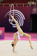 Laura Halford, Great Britain, during day one of the 33rd European Rhythmic Gymnastics at Papp Laszlo Budapest Sports Arena, Budapest, Hungary on 19 May 2017. Photo by Myriam Cawston.