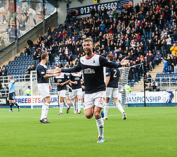 Falkirk's Rory Loy celebrates after scoring their third goal.<br /> Falkirk 3 v 1 Dundee, 21/9/2013.<br /> ©Michael Schofield.