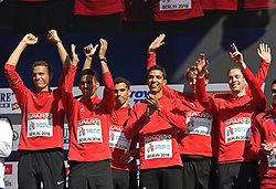 August 12, 2018 - Berlin, Allemagne - BERLIN , GERMANY  - AUGUST 12  : The Belgian Tornados Jonathan Borlee Kevin Dylan and Jonathan Sacoor Robin Vanderbemden Julien Watrin of Belgium pictured during podium ceremony after their victory in the 4X400 m relay at the European Championships Athletics in Berlin 2018  on august 12 2018 in Berlin , Germany ,12/08/2018  (Credit Image: © Panoramic via ZUMA Press)