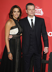 Suburbicon Premiere at The Regency Village Theater in Westwood, California on 10/22/17. 22 Oct 2017 Pictured: Matt Damon, Luciana Barroso. Photo credit: River / MEGA TheMegaAgency.com +1 888 505 6342