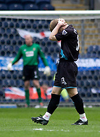 Photo. Glyn Thomas, Digitalsport.<br /> Blackburn Rovers v Leicester City. <br /> FA Barclaycard Premiership. 17/04/2004.<br /> Leicester's Ben Thatcher (R) holds his head in his hands as his side suffers a crucial 1-0 defeat.
