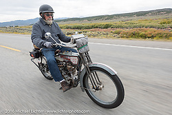 Bill Page of Kansas riding his single-cylinder 1915 Harley-Davidson class-2 motorcyle during the Motorcycle Cannonball Race of the Century. Stage-10 ride from Pueblo, CO to Durango, CO. USA. Tuesday September 20, 2016. Photography ©2016 Michael Lichter.